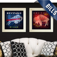 "Buffalo Bills City Maps - 2-Point Play Combo Prints - ""Shout"" Fight Song - Perfect Valentines, Birthday, Anniversary Gift - Unframed Prints"