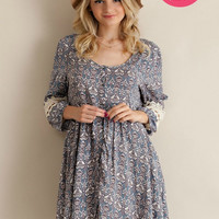 Brielle Blue Floral Boho Dress
