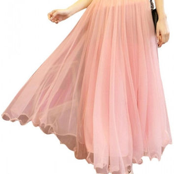 Plain High Elastic Waist Mesh Maxi Skirt
