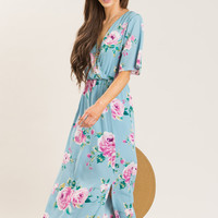 Penelope Blue Floral Print Maxi Dress