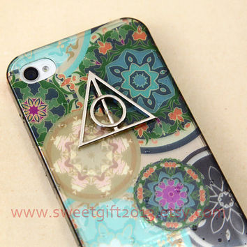 Harry potter Deathly Hallows Hard Case For iphone 4 4s / 5 5s case, floral case for iPhone 4 4s Cover, iphone 5 5s Cover