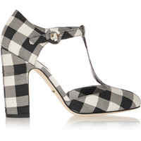 Dolce & Gabbana - Gingham brocade T-bar pumps
