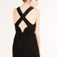 BLACK LOVELY CHIFFON PLEAT CROSSBACK DRESS
