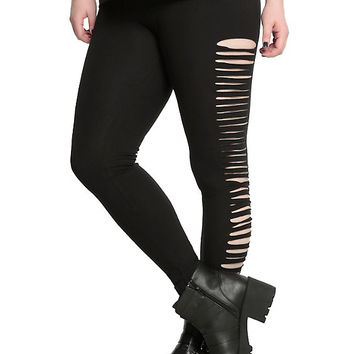 Blackheart Black Side Slit Leggings Plus Size