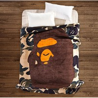 Fashion A Bathing Ape plush coral Fleece Blanket Camouflage Flannel Blanket Sofa Throw Blanket 150x200cm