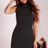 Missguided - High Neck Rib Knitted Dress Black
