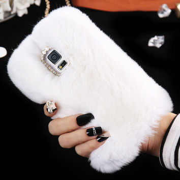 S7 Edge Bling Shiny Diamond Rabbit Hair Warm Winter Fluffy Cover For Galaxy Note 4 5 For Samsung S5 S6 edge Plus Furry Hard Case