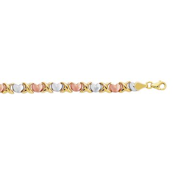 14K Yellow-White-Rose Gold Textured Shiny Tri Color Hugs+Kisses Bracelet with Pear Shape Clasp