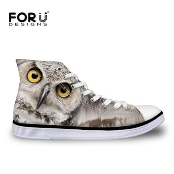 FORUDESIGNS Women Casual Canvas Shoes 3D Animals Owl Lerpard Panda Girl Students School Leisure Flats High Top Vulcanized Shoes