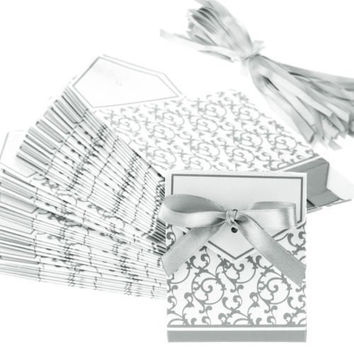 TINYPONY Wedding Favour Favor Sweet Cake Boxes Bags 100 Silver