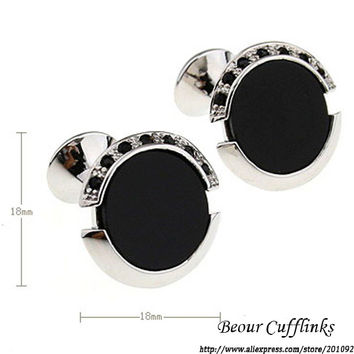 jewelry mb cufflilnks mens  Extreme Black Onyx Mosaic Of Black Crystal Round Romance cuff links  6806 Free shipping