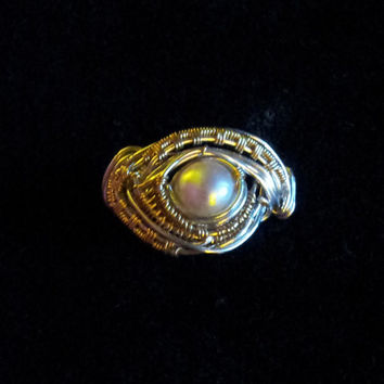 natural pearl set in sterling silver and 14kt gold filled wire wrapped ring sz 7
