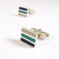 Sterling Silver Cuff Links - Blue Turquoise White Bands