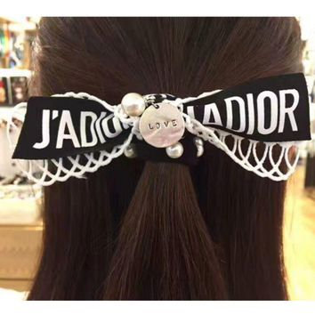 ONETOW Dior pearl drop letters knot hair exaggerated hollow double bowknot