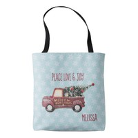 Peace Love & Joy w/ RedToy Truck Merry Christmas Tote Bag