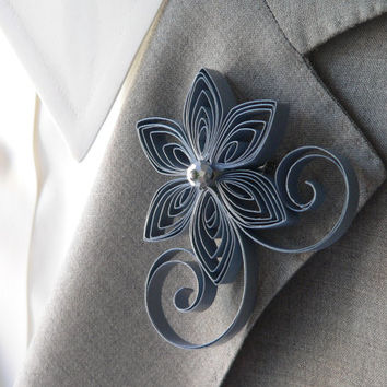 Grey Boutonniere, Gray Buttonhole, Grey Wedding, Pewter Wedding, Mens Wedding Boutonnieres