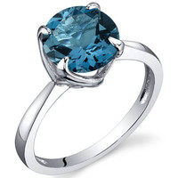 Sea Topaz Moon Ring