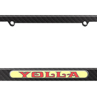 Yolla - Hello - Yo Holla License Plate Tag Frame - Carbon Fiber Patterned Finish