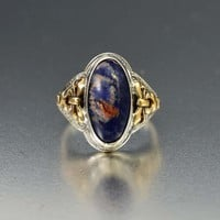 Art Deco 10K Gold Bow Silver Sodalite Ring