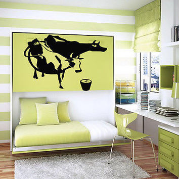 COW AND MILK FARM ANIMAL CUTE DESIGN  WALL VINYL STICKER  DECALS ART MURAL M20