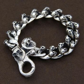 S925 Sterling Silver Thai Silver Retro Skull Lobster Buckle Men And Fashion Bracelet