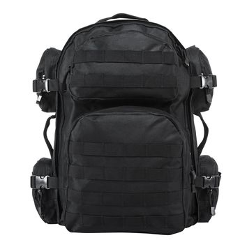 Tactical Backpack with Multiple Compartments and Molle Webbing - Black