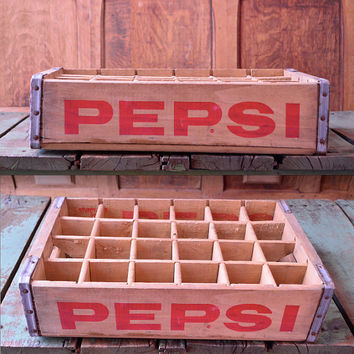 Vintage Pepsi-Cola Crate, Wood Pepsi Crate, Pepsi Crate With Dividers Beloit Wisconsin