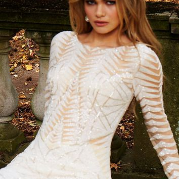 Ivory Embellished Long sleeve Short Dress 57931