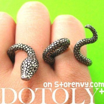 Realistic Snake Shaped Animal Double Duo Finger Adjustable Ring in Silver