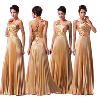 Womens Gold Long Wedding Evening Formal Party Gown Prom Bridesmaid Pageant Dress