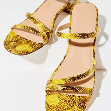 UO Claudia Faux Snakeskin Sandal   Urban Outfitters
