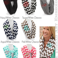 Infinity Scarf with Monogram Chevron Houndstooth Solid