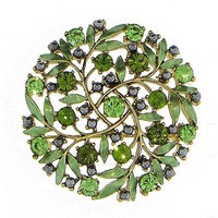 Antiqued Green Brooch Vintage Style Floral Olivine Crystal Gold Tone Pin p250g