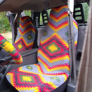1 Set Of Desert Valley Grey Print Seat Covers And The Steering Wheel Cover Custom Ma