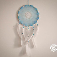 Large Dream Catcher - Blue Flower - With Turqoise-White Crochet Web and White Feathers - Home Decor, Nursery Mobile