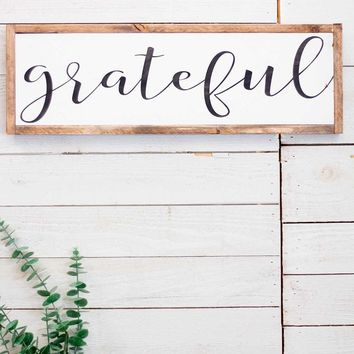 """Grateful"" Lettered Sign"