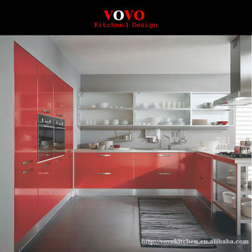 Red Lacquer Smart Kitchen Cabinets for Export