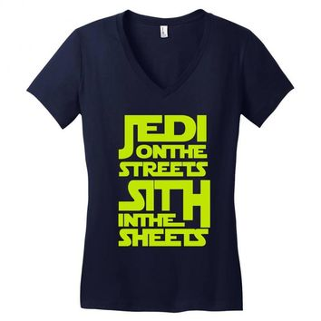 Jedi On The Streets Sith In The Sheets Women's V-Neck T-Shirt