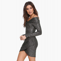 Metal Gray Smoke Off-shoulder Longsleeve Wrap Tight Dress