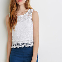 Crochet-Trimmed Lace Top