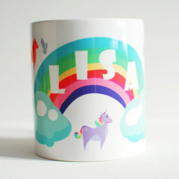 Personalised gifts, unicorn themed coffee mug, custom name mug, cute girly unique coffee mug, custom birthday gift for friend.
