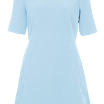 Scallop Trim Shift Dress - Light Blue