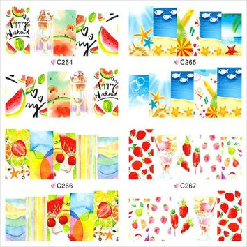 DCK9M2 12 Sheet Summer Fruit Flower Watermark Beauty Nail Art Tips Sticker Full Wraps Water Transfer Stickers Decals For Nails JH369