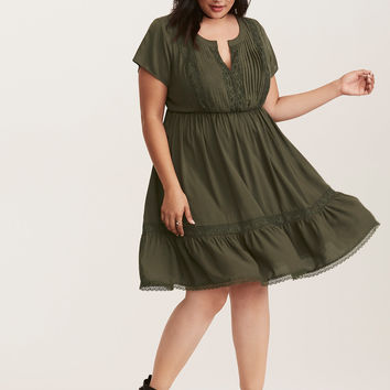 Olive Green Challis Lace Inset Dress