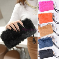 New Elegant Wallet Purse Faux Fur Wedding Party Handbag Women's Clutch Bag Multifunction Evening Bags SV009989|42101 (Color: Black) = 1931609540