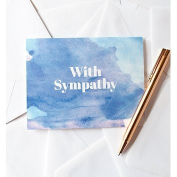 With Sympathy watercolor greeting card