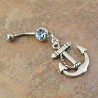 Light Blue Crystal Anchor Belly Button Jewelry Ring