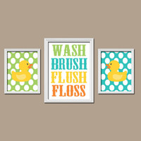 CHILD Bathroom Wall Art Rubber Duckies CANVAS Girl Boy Duck Bathroom Rules Yellow Turquoise WASH Brush Flush Floss Polka Dots Set of 3 Print