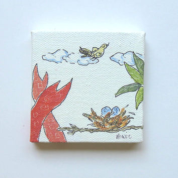 Miniature Animal Painting, acrylic, Bird's nest
