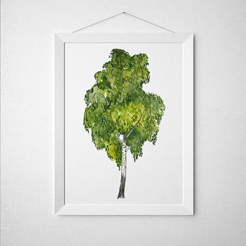 Birch print Birch tree poster Watercolor art Floral print ACW824